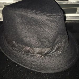 Vintage Stone Black Cotton Fadora Hat